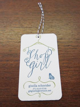 shop girl business cards